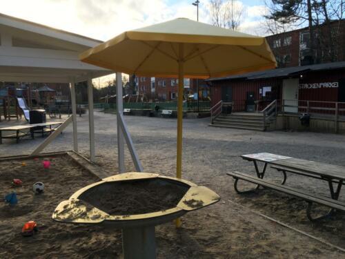 Sandbord med solskydd